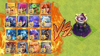 MAX WIZARD TOWER VS ALL TROOPS ! WHO WILL WIN ? | CLASH OF CLANS