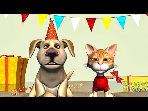 Funny Happy Birthday Song. Cat and Dog sing Happy Birthday To You - Прикольное видео онлайн
