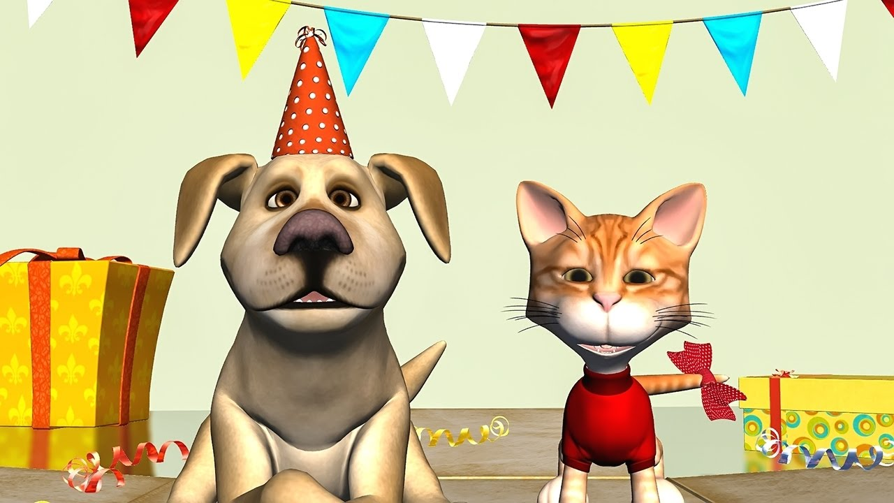 Funny Happy Birthday Song Cat And Dog Sing To You