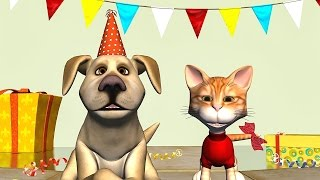 Funny Happy Birthday Song. Cat and Dog sing Happy Birthday To You
