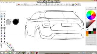 SKETCHBOOK PRO TUTORIAL: Skoda suv design sketch PART 1