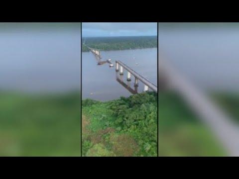 Parte de un puente se derrumba en Brasil
