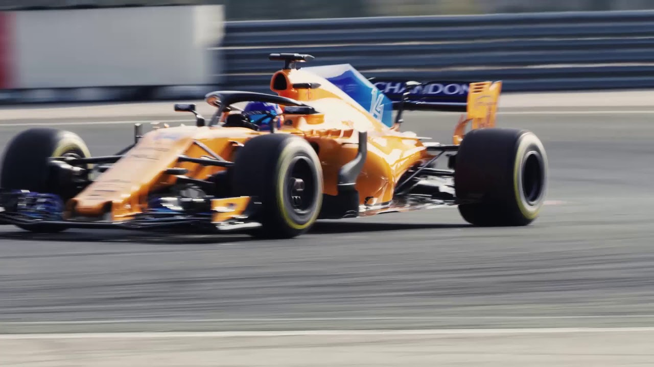 f1 2018 - mclaren renault mcl33 on track with alonso & vandoorne at