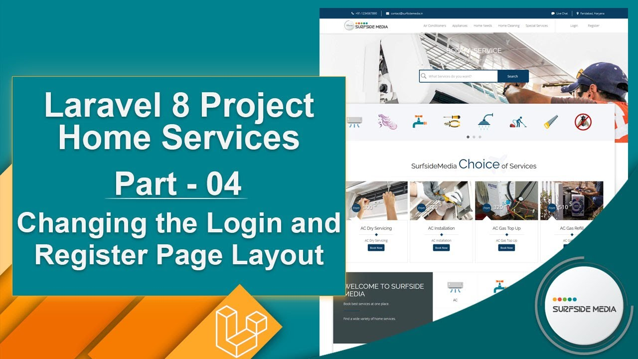 Laravel 8 Project Home Services - Changing the Login and Registration page Layout