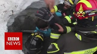 Moment survivors pulled from avalanche Rigopiano hotel   BBC News