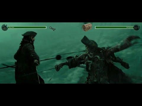 Davy Jones Vs Jack Sparrow (Part 1) With Health Bars (Pirates Of The Caribbean 3)