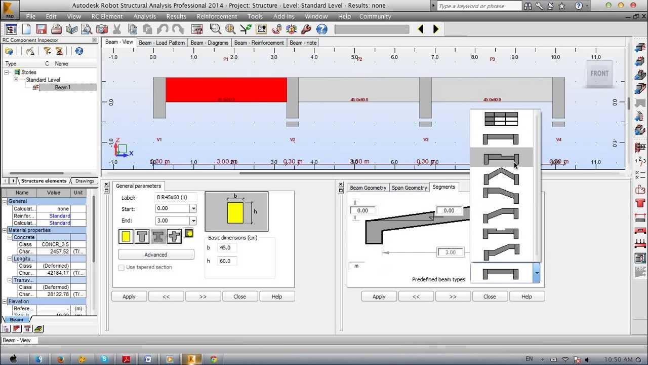 Reinforced Concrete Beam Design Robot Structural