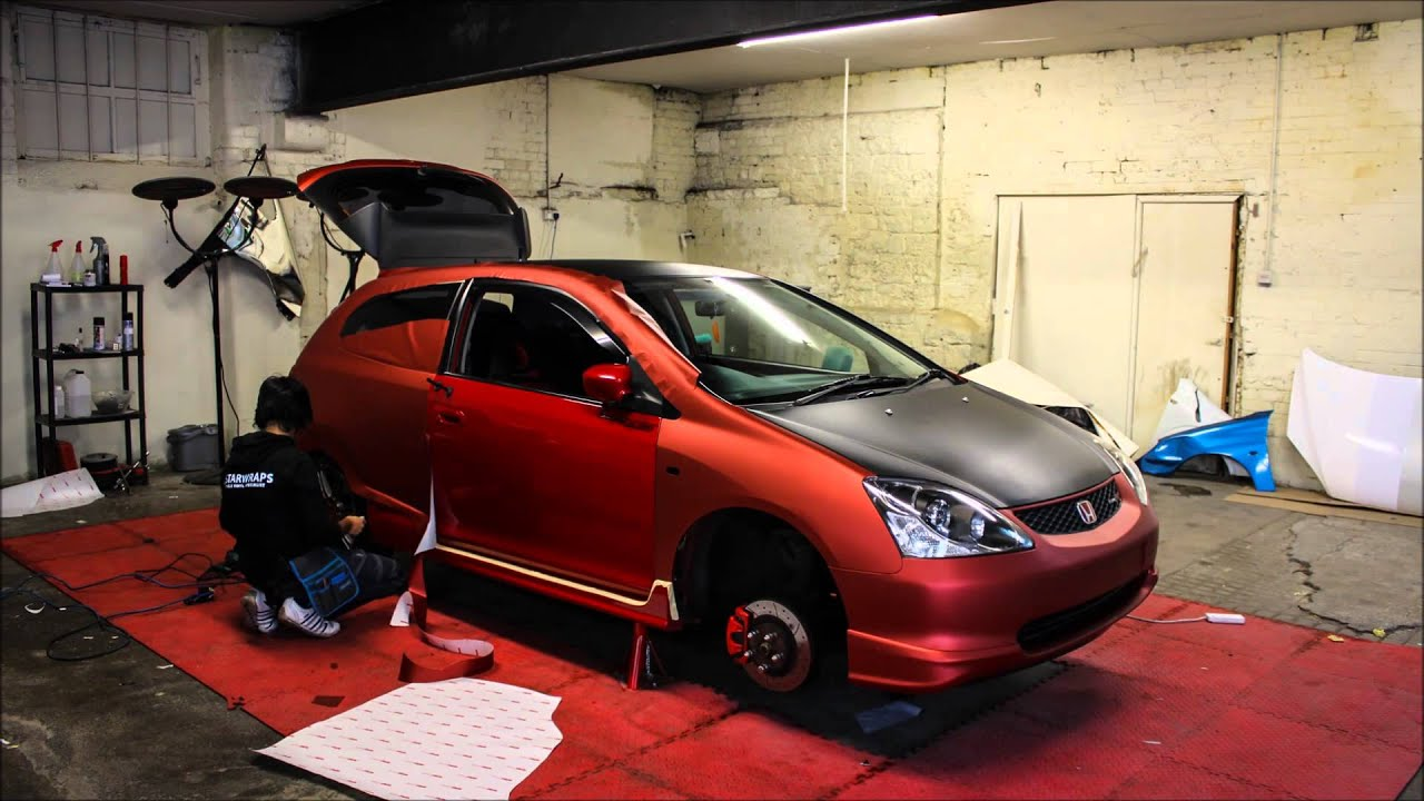 Matte Black Vinyl Car Wrap Cost Honda Civic Type R Arlon Red Aluminium Wrap GSTARWRAPS - YouTube