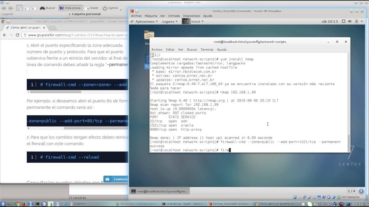 04 Configuracion Firewall Centos 7 para Oracle 11g - YouTube