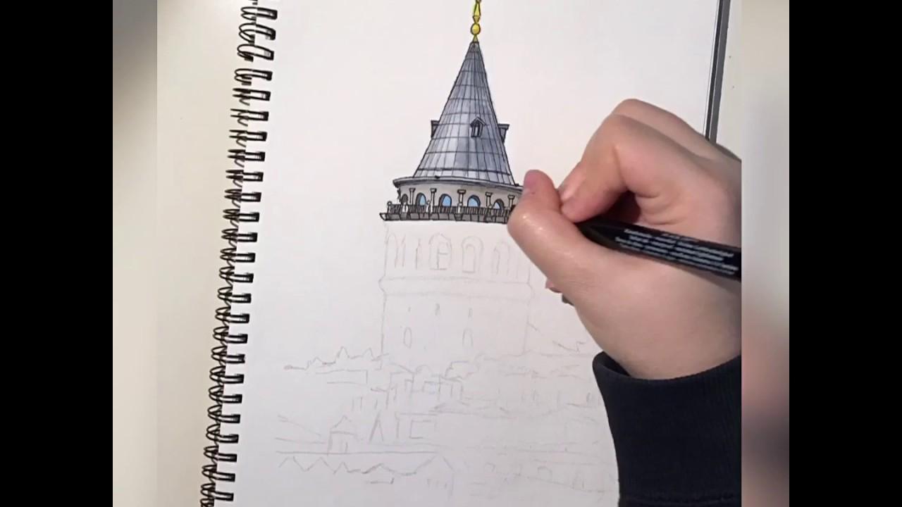Galata Kulesi Çizimi | Galata Tower Drawing | Hızlı Çekim ...