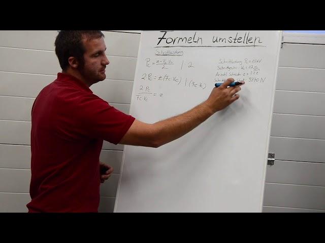 Schnittdaten berechnen für Zerspanungsmechaniker Formeln umstellen mit Anleitung Tutorial