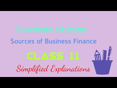 Sources of Business Finance.