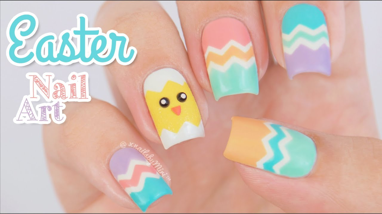 Easter Nail Art || using \'Zig Zag\' tape by Whats Up Nails - YouTube