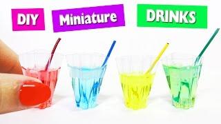DIY   Mini Drinks with Liquid + Ice - Easy Doll House Crafts - simplekidscrafts - simplekidscrafts
