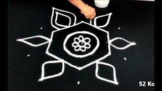 Video Simple & easy rangoli designs with dots     7 dots kolam   chukkala muggulu designs download MP3, 3GP, MP4, WEBM, AVI, FLV Juli 2018