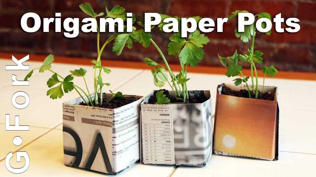 Origami Paper Seed Starting Pots Gardenfork Youtube