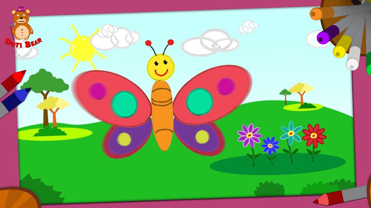Doti Bear – Guía de pintura para niños chiquitos - Mariposa - YouTube
