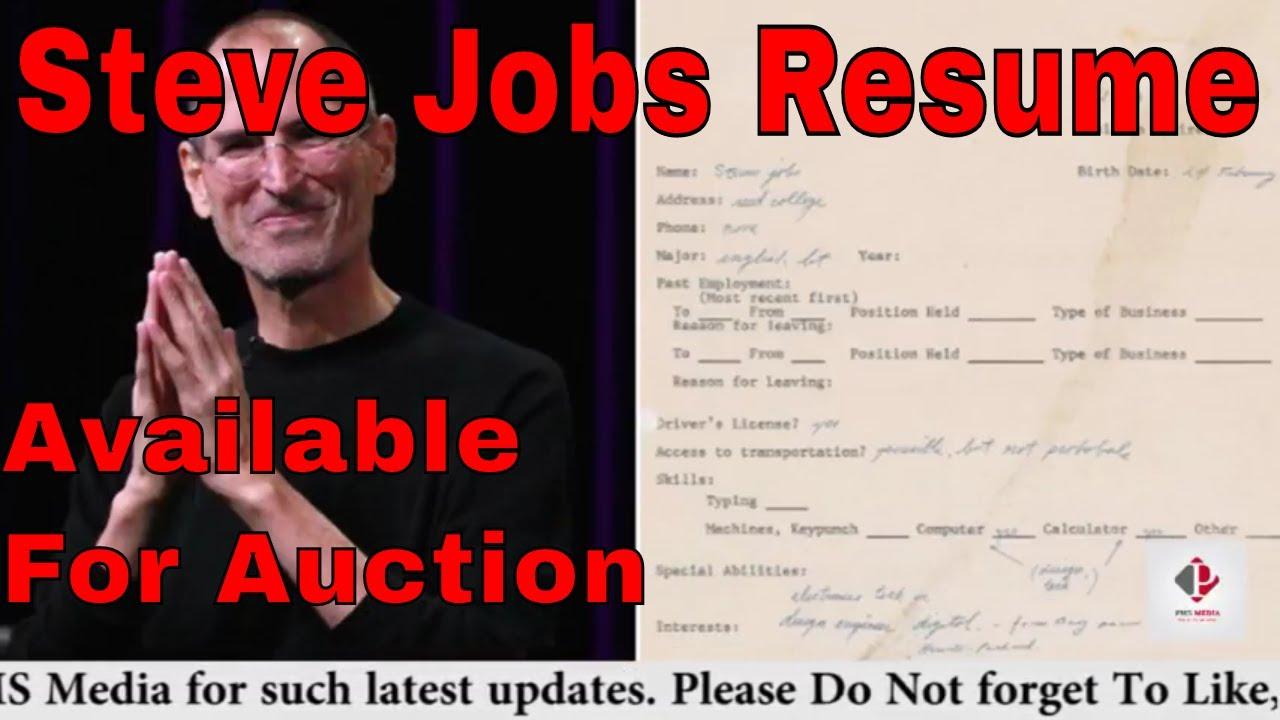 Steve Jobs First Resume For Auction ज न ए क तन म