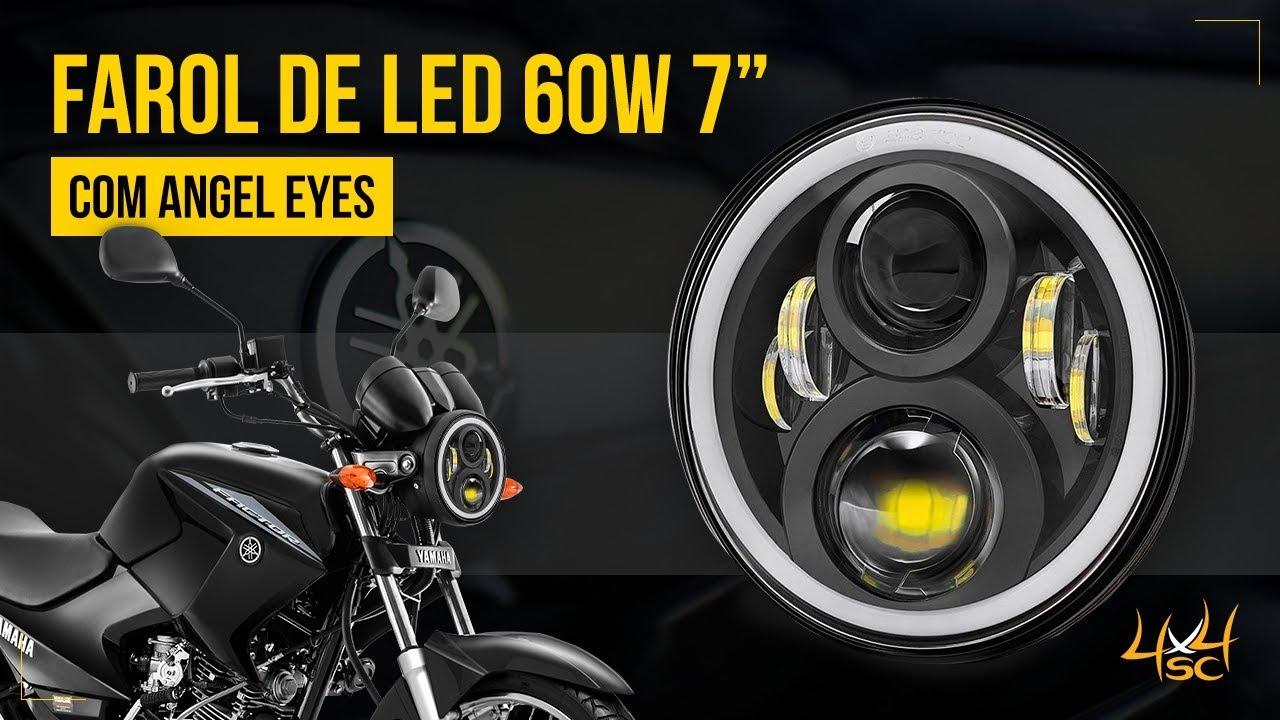 Farol De Led 7 Pol 60w Angel Eyes - Moto Yamaha Ybr Factor 125 Fazer 250 - 4x4sc Com Br