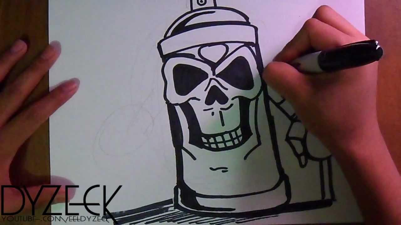 Dibujo de un Spray en Forma de Craneo Graffiti Tributo a