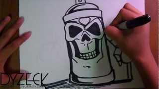 Dibujo de un Spray en Forma de Craneo (Graffiti)  Tributo a Cholowiz13 | ZaXx