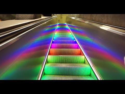 Sweden, Stockholm Central subway station, rainbow escalator, walkalator and elevator ride