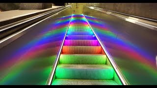 Sweden, Stockholm Central subway station, rainbow escalator, walkalator and elevator ride thumbnail