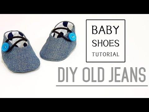 Diy old jeans   Baby Shoes Tutorial   FREE TEMPLATE DOWNLOAD   牛仔婴儿鞋制作方法#HandyMum ❤❤