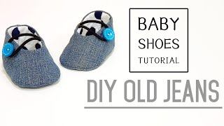 Diy old jeans | Baby Shoes Tutorial | FREE TEMPLATE DOWNLOAD | 牛仔婴儿鞋制作方法#HandyMum ❤❤