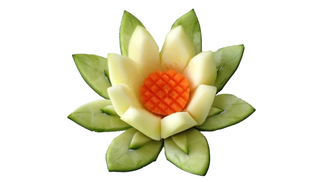 Beautiful Zucchini Lotus Flower   Beginners Lesson 48 By Mutita Art Of Fruit  And Vegetable Carving   YouTube