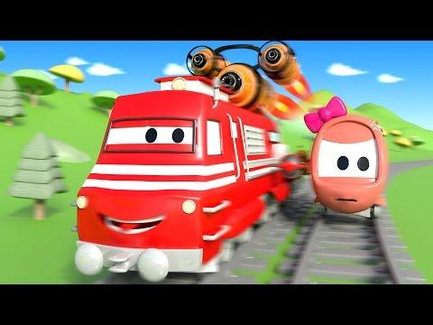 Troy lokomotywa i Wyścig w Miasto Samochodów | Samochody bajka o maszynach dla dzieci po polsku