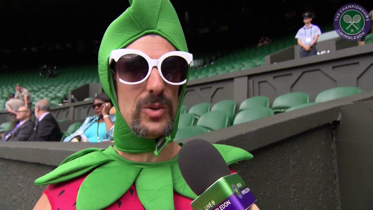 Strawberry costume clad super fan braves four day queue for Centre Court ticket - YouTube  sc 1 st  YouTube & Strawberry costume clad super fan braves four day queue for Centre ...