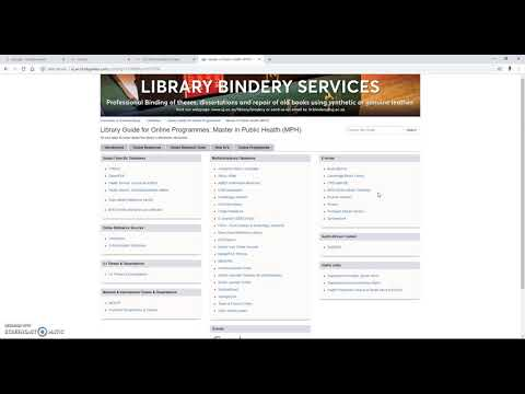 What's available on the UJ Library Guide for Online Programmes (MPH)