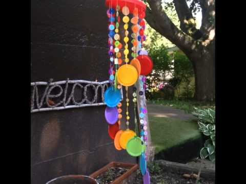 Rainbow button wind chime youtube for Waste material hand work