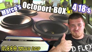 (4) 18 inch Subwoofers & OCTOPORT Box w/ Taramps HD-8000 Bass Amplifier / LOUD Obsidian V2 Subs