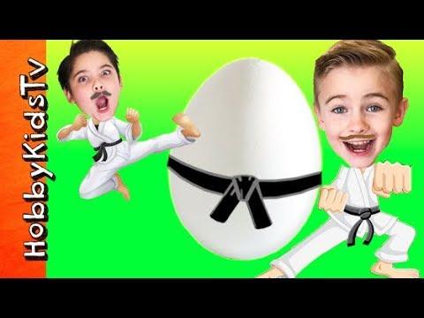 Giant KARATE Surprise Egg! Adventure with HobbyKidsTV