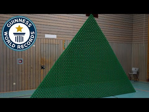 Most dominoes toppled in a 2D pyramid - Guinness World Records