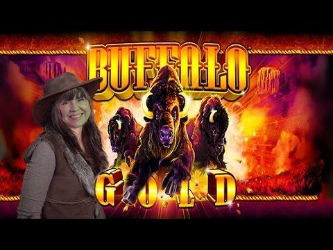 BUFFALO GOLD SLOT MACHINE- BONUSES WITH REX-LIVE PLAY