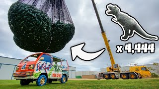 4,444 DINOSAURS Vs. MINIVAN From A CRANE! (1 Billion Views Celebration)