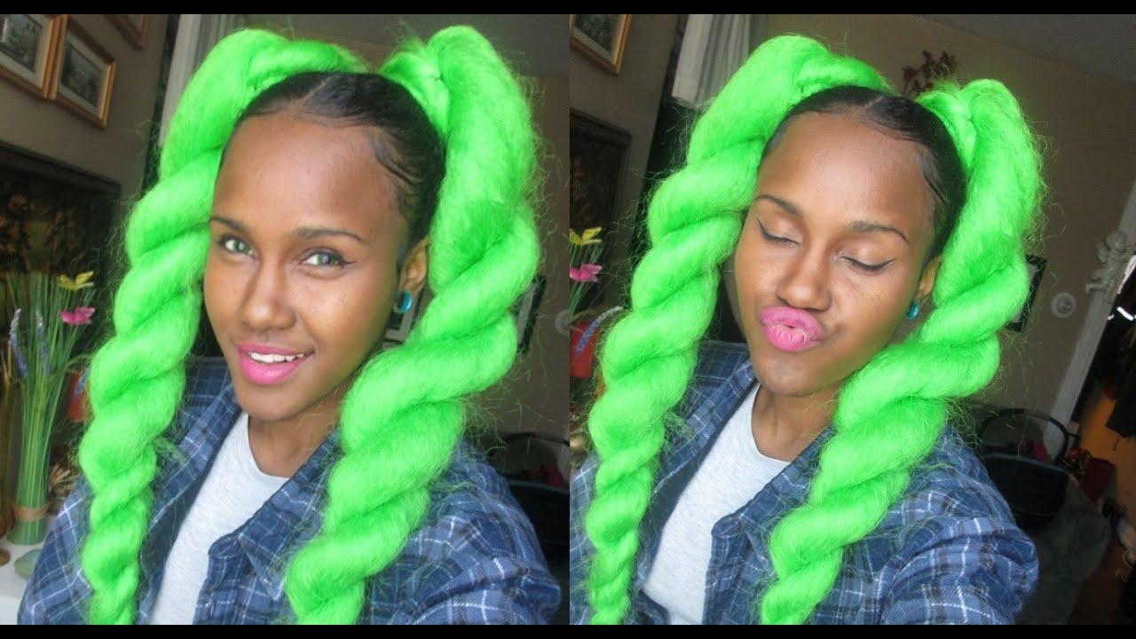 neon green rave hair braiding