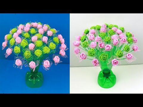 Empty Plastic Bottle GULDASTA Making Craft, Water Bottle Recycle Flower Vase, FLOWER GULDASTA