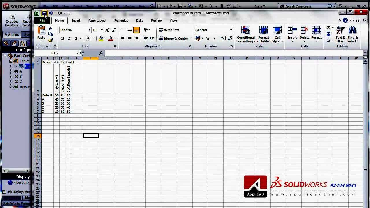 Design Table Solidworks Solidworks Configuration Design Table - Youtube