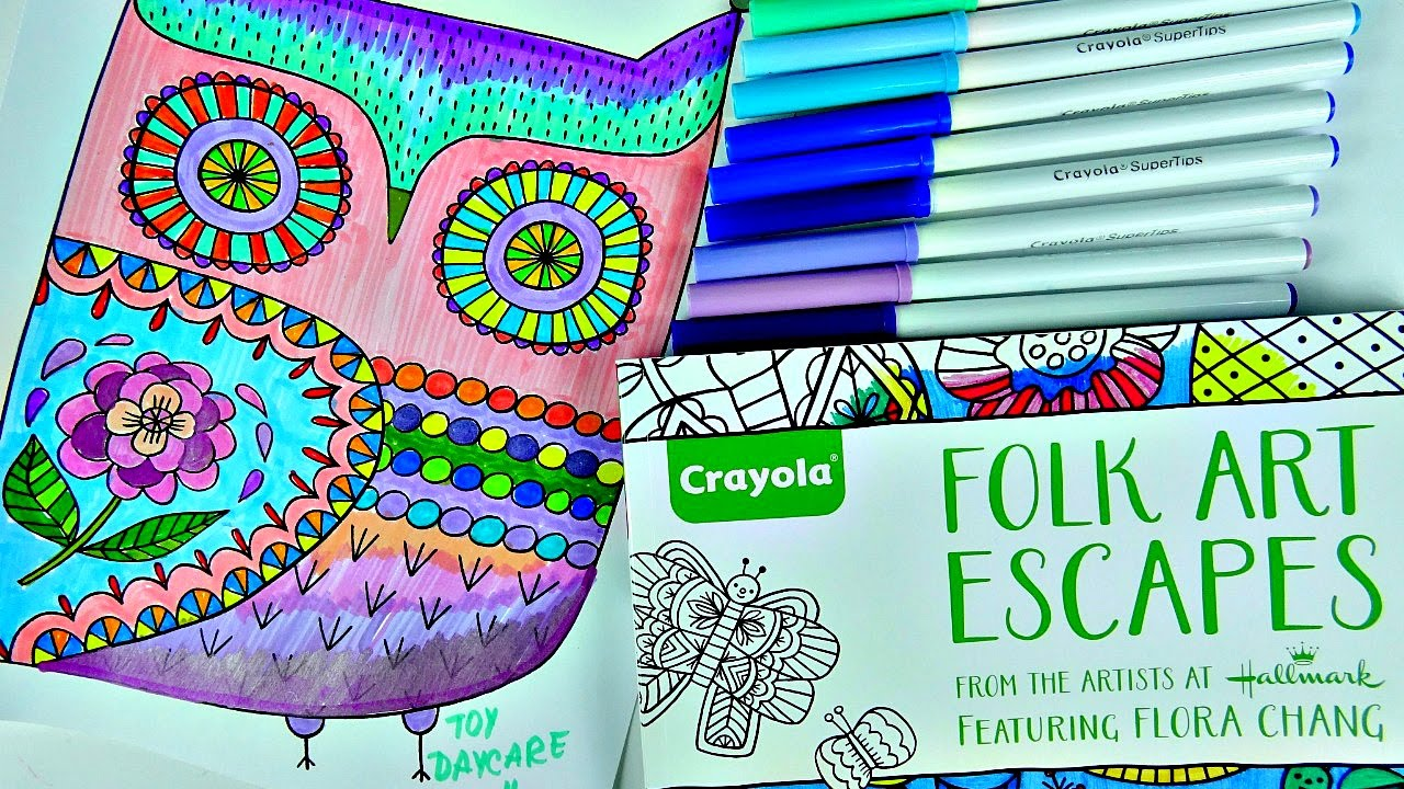 CRAYOLA Folk Art Escape Coloring Book. SO RELAXING!