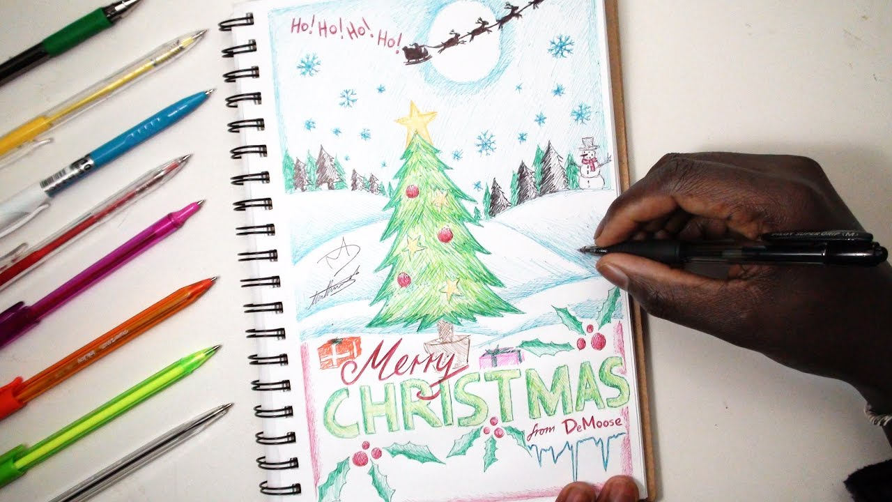merry christmas sketch sunday 15 how to draw a christmas card demoose art youtube merry christmas sketch sunday 15 how to draw a christmas card demoose art