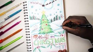 MERRY CHRISTMAS! SKETCH SUNDAY #15 How To Draw A Christmas Card - DeMoose Art