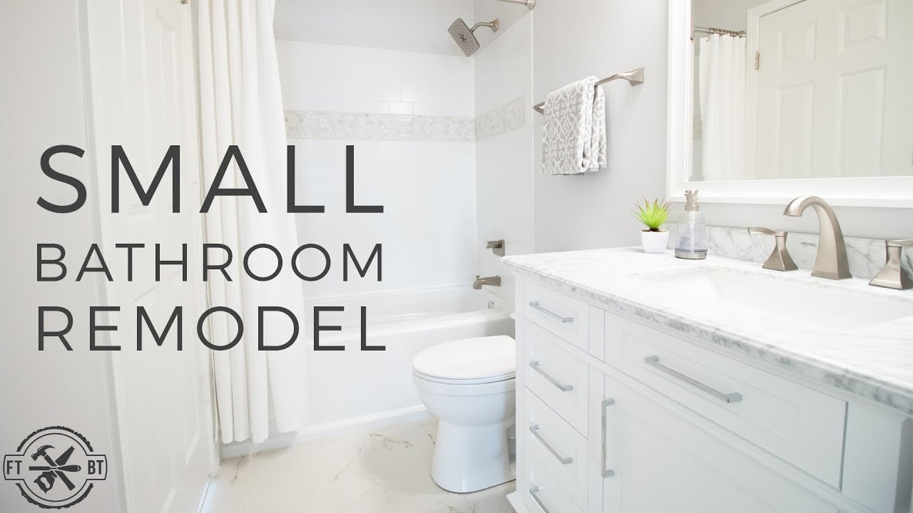 Diy small bathroom remodel bath renovation project youtube - Pictures of remodeled small bathrooms ...