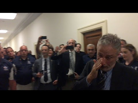 Watch a tearful Jon Stewart receiving a touching gift from 9/11 first responders