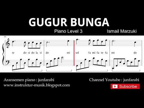 Gugur Bunga Not Balok Piano Level 3 - Lagu Wajib Nasional