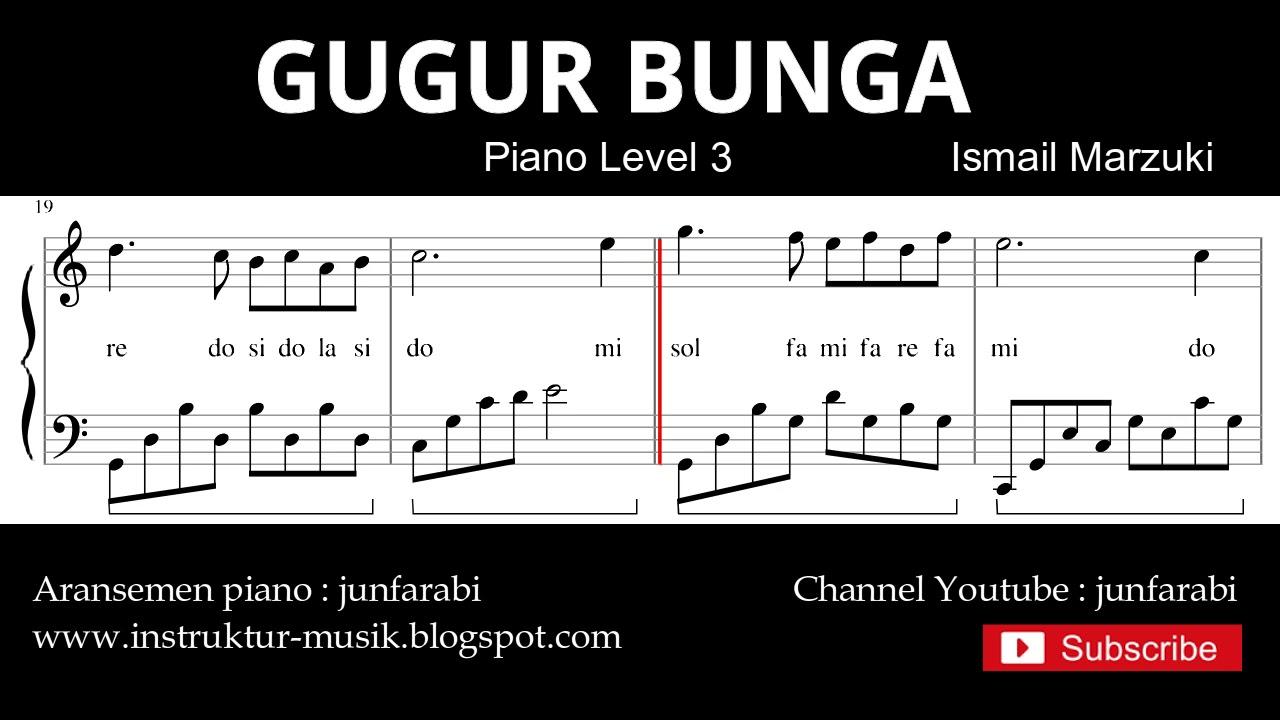 Gugur Bunga Not Balok Piano Level 3 Lagu Wajib Nasional Youtube