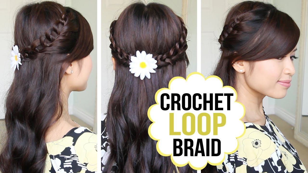 Crochet Loop Braid Hair Tutorial Half Updo Prom Hairstyle - YouTube